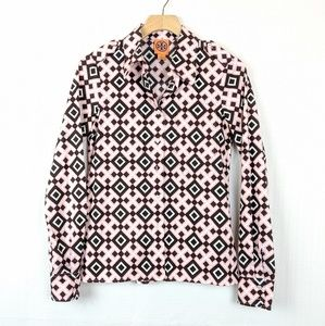 Tory Burch | Pink Brown Patterned Button Down Top